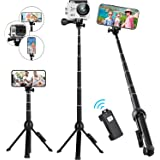 Selfie Stick Tripod Stand,Rimposky 113cm Extendable Selfie Stick with Wireless Remote,Compatible with iPhone/Android/GoPro.Sm