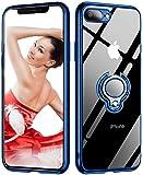 iPhone8 plus ケース / iPhone7 plus ケース リング付き 透明 TPU 耐衝撃 クリア 車載ホルダー対応 軽量 薄型 擦り傷防止 クリア 取り出し易い メッキ加工 携帯カバー スタンド機能 落下防止 高級感 オシャレ ストラップホール付き ブルー