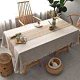 Rectangle Tablecloth Washable Cotton Linen Wrinkle Free Spill Proof Fabrics Table Cover Great for Indoor & Outdoor Party (302