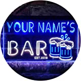 Personalized Your Name Est Year Theme Bar Beer Mug Decoration Dual Color LED Neon Sign White & Blue 600 x 400mm st6s64-w1-tm-