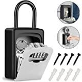 Tobeape Key Lock Box with Hook, Portable Wall Mount Key Storage Box with 4 Digit Resettable Code Combination& Slide Cover for