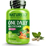 NATURELO One Daily Multivitamin for Women - Best for Hair, Skin, Nails - Natural Energy Support - Whole Food Supplement - Non