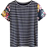 SweatyRocks Women's Casual Loose Short Sleeve Round Neck Striped Tee Shirt Top