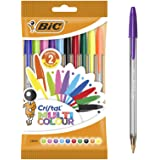 BIC 943437 Cristal Multicolour Ball Pens Wide Point (1.6 mm) - Assorted Colours, Pouch of 10