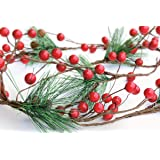 OLYPHAN Christmas Garland Red Berry, Artificial Pine Needle Holiday Greenery (Evergreen) Fireplace Décor & Home Xmas Decorati