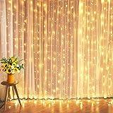 イルミネーションライト LED カーテンライト 3M*3M 300電球 ストリングスライト led カーテンライト USB式 リモコン制御 IP67防水 8つパターン 点滅 点灯 タイマー機能 防水 屋外 室内 ガーデンライト 正月 クリスマス 飾り