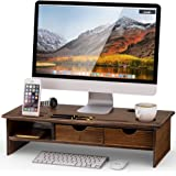 Tribesigns Monitor Stand Riser with Storage Organizer Drawers Bamboo with Drawers Retro Brown