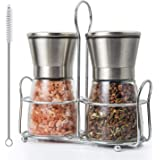 BOOTWO Salt and Pepper Grinder Set,Premium Stainless Steel Salt and Pepper Mill with Glass Body and Adjustable Coarseness, Br
