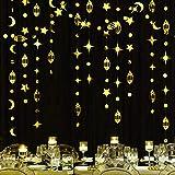 Gold Eid Mubarak Ramadan Decorations Hanging Star Moon Circle Dot Crescent Lamp Garland Streamer Backdrop Banner Decorations