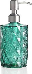 Easy-Tang 330ml シャンプーボトル ディスペンサー ガラス製 おしゃれ アンティーク風 ステンレスポンプ ハンドソープ用 洗剤用 (クリアグリーン)