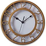 """Gold Silent Wall Clock Non-Ticking Wall Clock 8"""" Round Ready to Hang Decor Wall Clock with Plastic Bezel"""