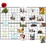 Kakivan Wire Wall Grid Panel for Photo Display, DIY Iron Picture Frames Collage for Hanging Wall Decor, Foldable Multi Pictur