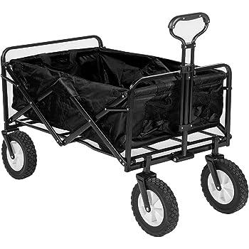 (OSJ) キャリーカート フォールディングキャリーワゴン アウトドアワゴン 大型ノーパンクラバータイヤ 容量 約90L 積載重量 約100kg 収納ケース付き