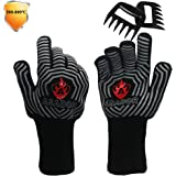 ASADOR BBQ Gloves and Meat Claws,1472℉ Extreme Heat Resistant Gloves/Mitts for BBQ Grilling, Smoker,Pizza Oven & Fireplace. a