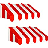 """Beistle 54934, 2 Piece 3-D Awning Wall Decorations, 24.75"""" x 8.75"""" (Red/White)"""