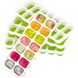OMorc Ice Cube Trays 4 Pack, Easy-Release Silicone and Flexible 14-Ice Trays with Spill-Resistant Removable Lid, LFGB Certifi