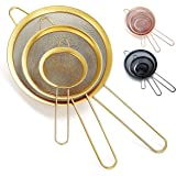 Kyraton Gold Fine Mesh Strainer 3 Pieces Set, Golden Flour Sifter For Baking, Stainless Steel Clander, Matcha Tea Strainer, G