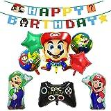 Fantasyon スーパーマリオ 誕生日 飾り付け 風船 バルーン スター パーティー 可愛い happy birthdayガーランド スター ゲームパッド型風船 9点セット