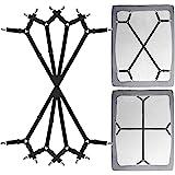 Siaomo 4 Pcs Triangle Sheet Fasteners and Crisscross or Straight Bed Sheet Holders Straps, 4 Pcs 2wayLong-Black