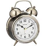 リズム(RHYTHM) 置き時計 金色 イブシ仕上 13.4x9.6x6cm 目覚まし時計 連続秒針 レトロ アンティーク調 ベル音 8RAA06SR63