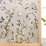 VELIMAX Static Cling Stained Glass Window Film Privacy Window Sticker Decorative Window Tint Colored Removable Sun Blocking,
