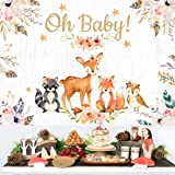 Woodland Animals Backdrop for Baby Shower Decorations Jungle Animals Theme Party Supplies Girl Pink Floral Banner Decor Vinyl