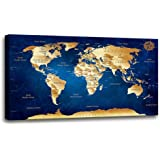 "Wall Art blue map of the world Painting Ready to Hang -20"" x 40"" Pieces Large Framed wall art world Map Canvas Art Map wall d"