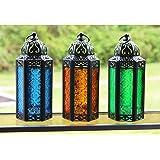 Decorative Candle Lanterns for Spring Decor, Medium, Blue/Amber/Green, Set of 3