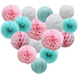 Teal Party Supplies for Bridal Baby Shower First Birthday Party Wedding Decorations (16pcs) Paper Honeycomb Ball Pom Poms Flo