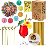 Drink Umbrellas with Bamboo Straws and Picks - 212 pcs Set for Drinks and Appetizers. BPA Free, Organic.100 Cocktail Umbrella