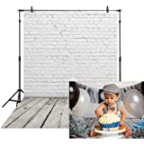 Allenjoy 5x7ft Soft Fabric White Brick Wall with Gray Wooden Floor Photography Backdrop Photo Background