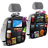 "Car backseat organizer with 10.10"" tablet & cup holder, 10 storage pockets- Upgraded premium size baby car back seat organise"