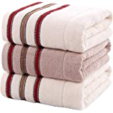 【Amy Life】 bath towel バスタオルセット 大判 綿100% コットン100% 3枚セット 瞬間吸水 速乾 抗菌防臭 毛羽レス 柔らかい肌触り 320g/枚 大人用 子供用 赤ちゃん用 家庭用 ホテル仕様 業務用 ボーダー(Whit