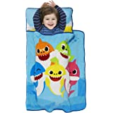 Baby Shark Toddler Nap Mat - Includes Pillow and Fleece Blanket – Great for Boys and Girls Napping at Daycare, Preschool, Or