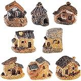 Miniature Fairy Garden Stone House, 8 Pcs Resin Village House Fairy Garden Kits Figurines, Mini Fairy Cottage House Fairy Gar