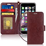 """FYY Case for iPhone 6S Plus/iPhone 6 Plus (5.5""""), [Kickstand Feature] Luxury PU Leather Wallet Case Flip Folio Cover with [Ca"""