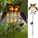 TAKE ME Garden Solar Lights Outdoor,Solar Powered Stake Lights - Metal OWL LED Decorative Garden Lights for Walkway,Pathway,Y