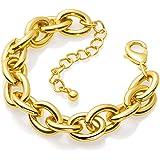 Gold Bracelet for Women Girls, 14k Gold Plated Wide Cuban Curb Link Bracelet