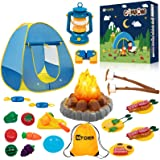 MITCIEN Kids Camping Play Tent with Toy Campfire / Marshmellow /Fruits Toys Play Tent Set for Boys Girls Indoor Outdoor Prete