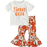 Toddler Baby Girl Long Sleeve Sunflower Outfits Ruffle Sleeve Shirt Top+Bell Bottom Flare Pants Boutique Clothes Set 2-7Y