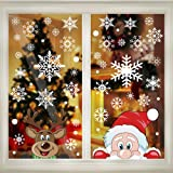 300 PCS 8 Sheet Christmas Snowflake Window Cling Stickers for Glass, Xmas Decals Decorations Holiday Snowflake Santa Claus Re