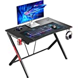 """MR IRONSTONE Gaming Desk 45.3"""" Gaming Table Home Computer Desk with Cup Holder and Headphone Hook Gamer Workstation (Game Tab"""