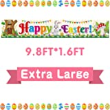 FEPITO Large Happy Easter Banner Fabric Easter Yard Sign Backdrop Banner for Spring Easter Decoration Indoor Outdoor Easter P