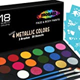 Face Paint Kit Non-Grease 18 Colors Including 4 Metallic 3 Brushes 30 Stencils Face Paints Body Paint Palette Kids Safe Face
