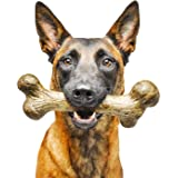 Pet Qwerks Big Foot BarkBone Peanut Butter Flavor - Nylon Chew Toy for Aggressive Chewers, Tough Extreme Power Chewer Bone |