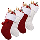 """OurWarm 18"""" Christmas Stockings, 4pcs Cable Knit Christmas Stockings with Plush Faux Fur for Family Holiday Decorations, Larg"""
