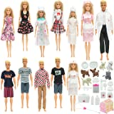 SOTOGO 45 Pieces Doll Clothes and Accessories for Barbie Ken Dolls Pet Hospital Playset Include 12 Set Handmade Doctor Nurse