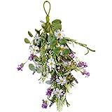 NeoL'artes 15.8inch Summer Front Door Teardrop Wreath Artificial Floral Swag Wreath for Home Décor