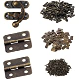 Gizhome 25 Sets Antique Right Latch Hook Hasp and 50 Sets Antique Bronze Small Box Mini Hinges with Replacement Screws for Wo