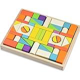 積み木 56 PCS 木製 ブロック モンテッソーリ 木のおもちゃ 天然 カラフル 組立 3歳から 立体パズル 建物構造 GYBBER&MUMU 木箱付き (カラフル_56個)